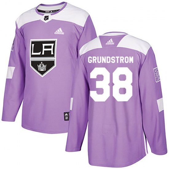 Carl Grundstrom Los Angeles Kings Youth Authentic Fights Cancer Practice Adidas Jersey - Purple