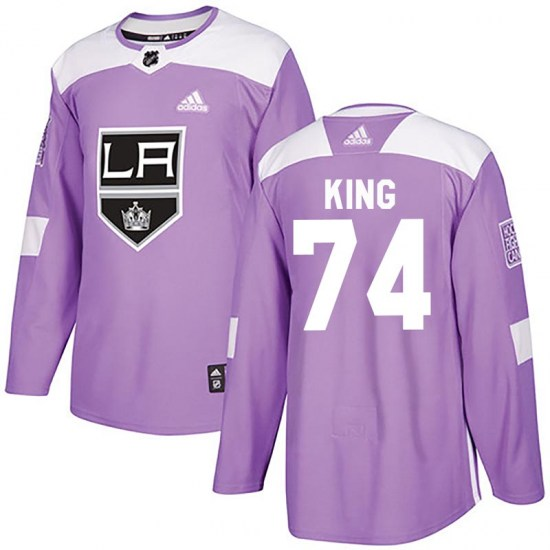 Dwight King Los Angeles Kings Youth Authentic Fights Cancer Practice Adidas Jersey - Purple
