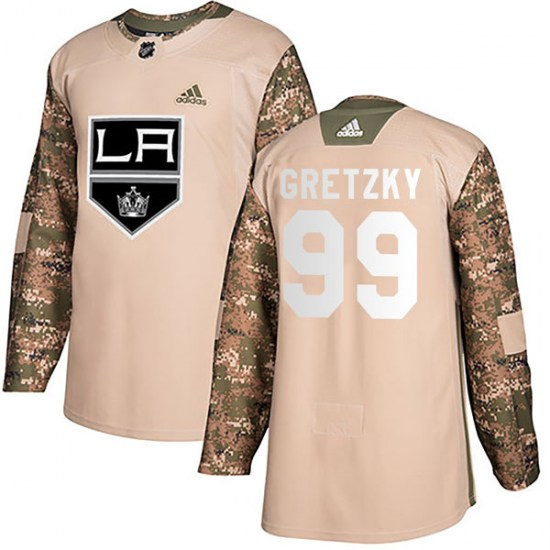 Wayne Gretzky Los Angeles Kings Youth Authentic Veterans Day Practice Adidas Jersey - Camo